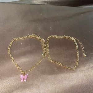 Pink butterfly anklet set
